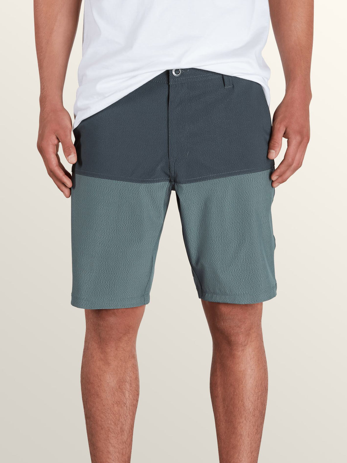 Surf 'N Turf Hybrid Block Hybrid Shorts In Lead, Front View