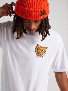 Ozzie Tiger Short Sleeve Tee In White, Second Alternate View