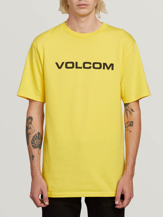 Crisp Euro Short Sleeve Tee In True Yellow, Front View