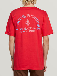 Peace Is Progress Short Sleeve Tee In True Red, Back View