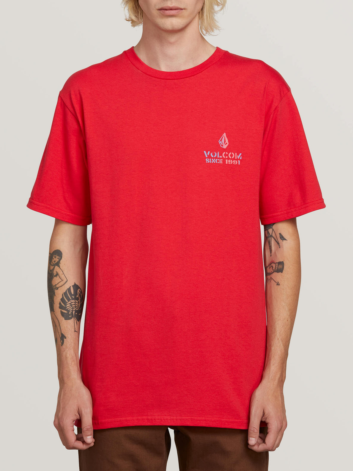 Peace Is Progress Short Sleeve Tee In True Red, Front View