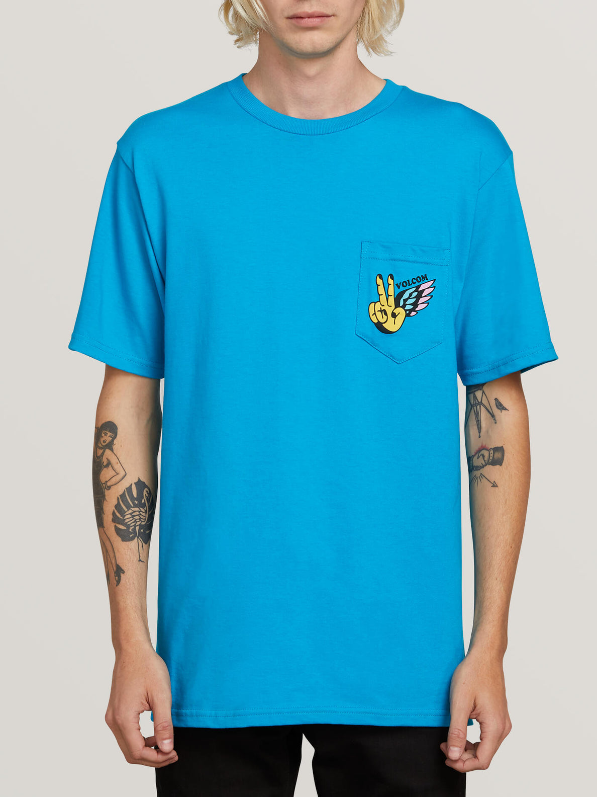 Winged Peace Short Sleeve Pocket Tee In Bright Blue, Front View