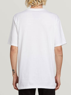 Winged Peace Short Sleeve Pocket Tee In White, Back View