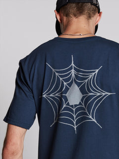 Lopez Web Short Sleeve Tee In Navy, Third Alternate View