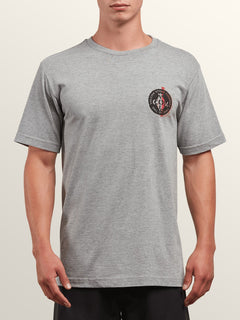 Cage Short Sleeve Tee In Heather Grey, Front View