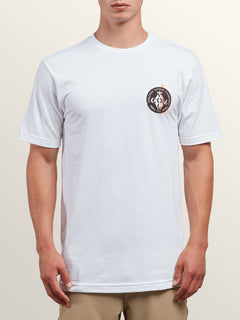 Cage Short Sleeve Tee In White, Front View