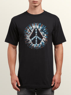 Peace Stone Short Sleeve Tee In Black, Front View