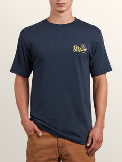 Primo Island Short Sleeve Tee In Navy, Front View