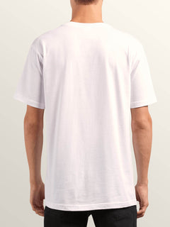 Double Short Sleeve Tee In White, Back View