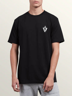 Cut Out Short Sleeve Tee In Black, Front View