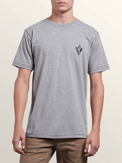 Cut Out Short Sleeve Tee In Heather Grey, Front View