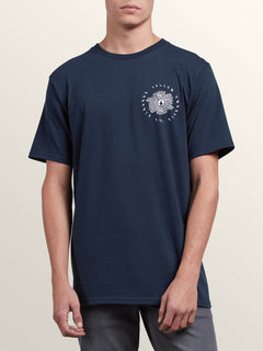 Delusion Print Short Sleeve Tee In Navy, Front View