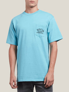 Hypno Tech Short Sleeve Pocket Tee In Blue Bird, Front View