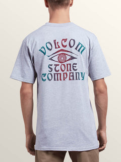 Hypno Tech Short Sleeve Pocket Tee In Heather Grey, Back View