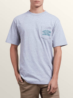 Hypno Tech Short Sleeve Pocket Tee In Heather Grey, Front View
