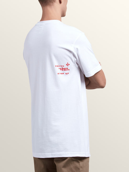 Cross Out Short Sleeve Tee In White, Back View