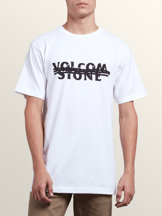 Cross Out Short Sleeve Tee In White, Front View