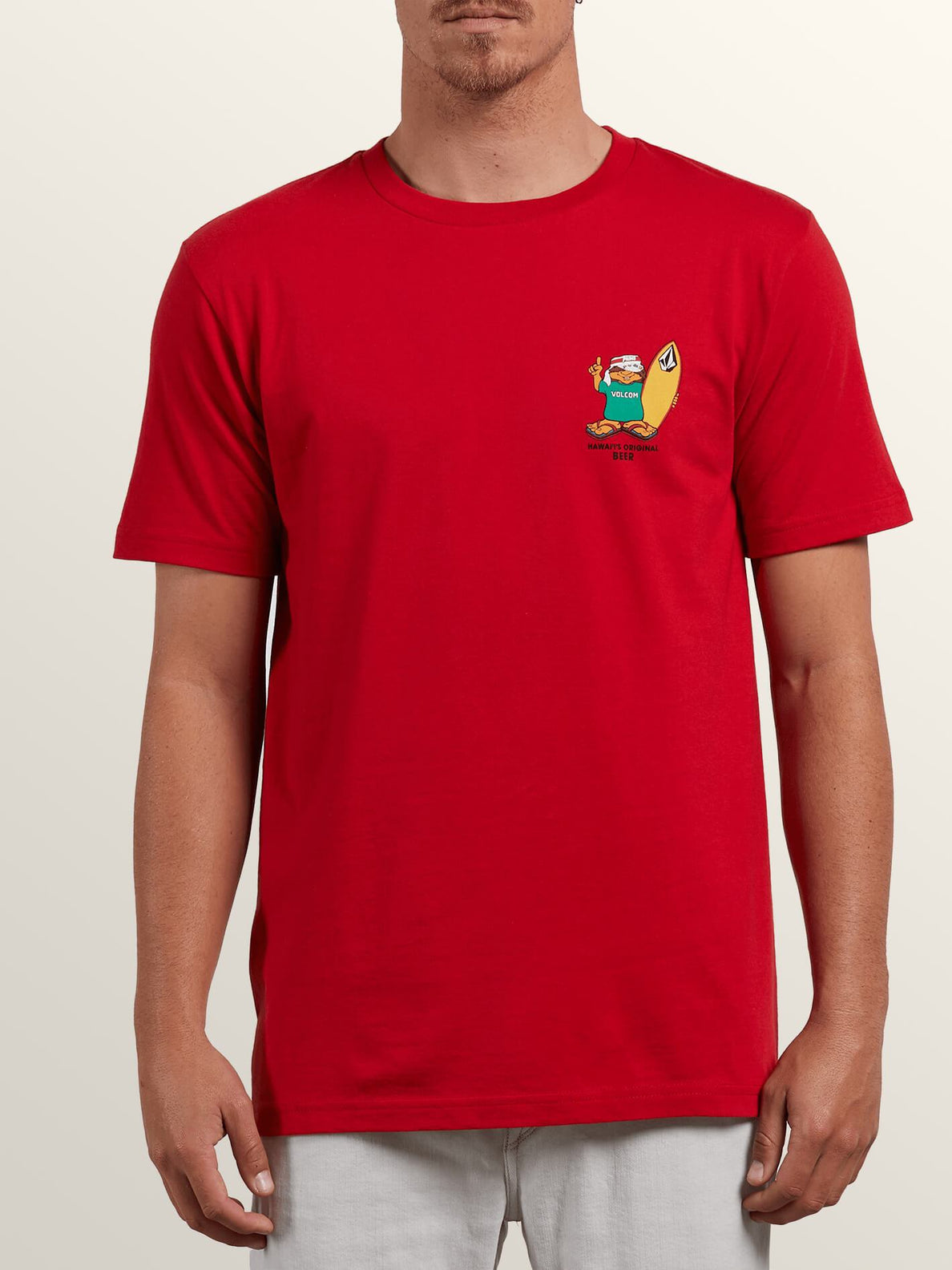 Primo Chance Short Sleeve Tee In Red, Front View