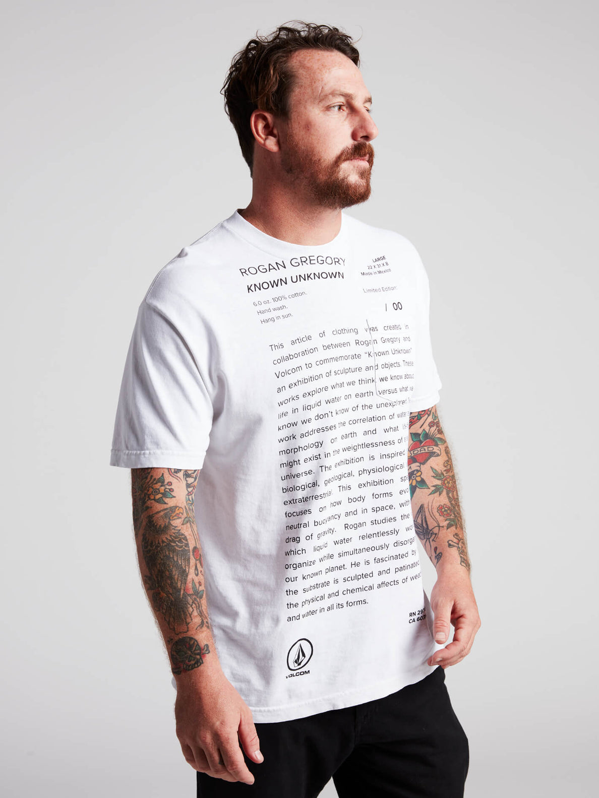 Rogan Gregory X Volcom Manifesto Tee In Vintage White, Second Alternate View