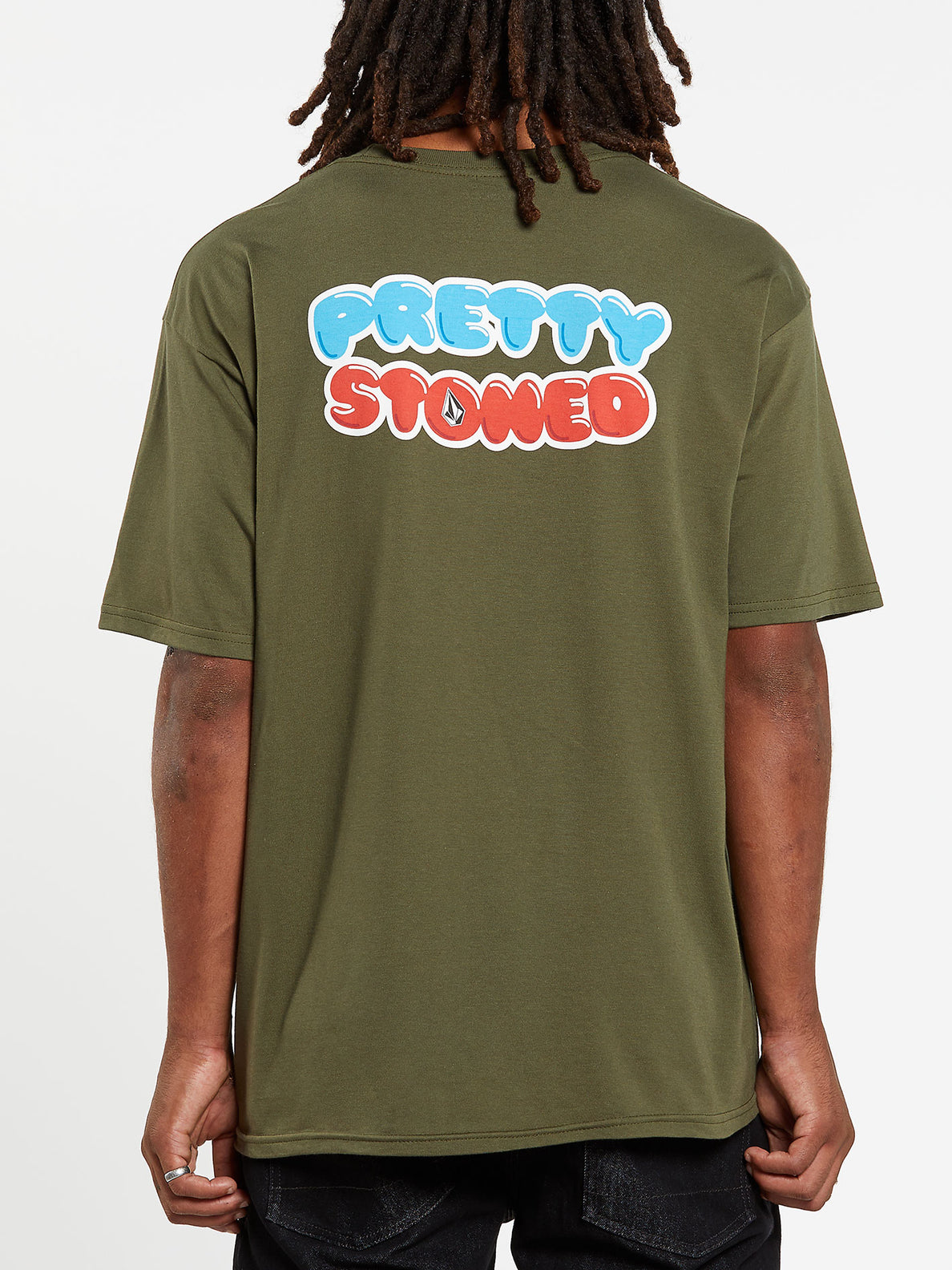 Pretty Stoned Short Sleeve Tee - Military (A3532009_MIL) [B]
