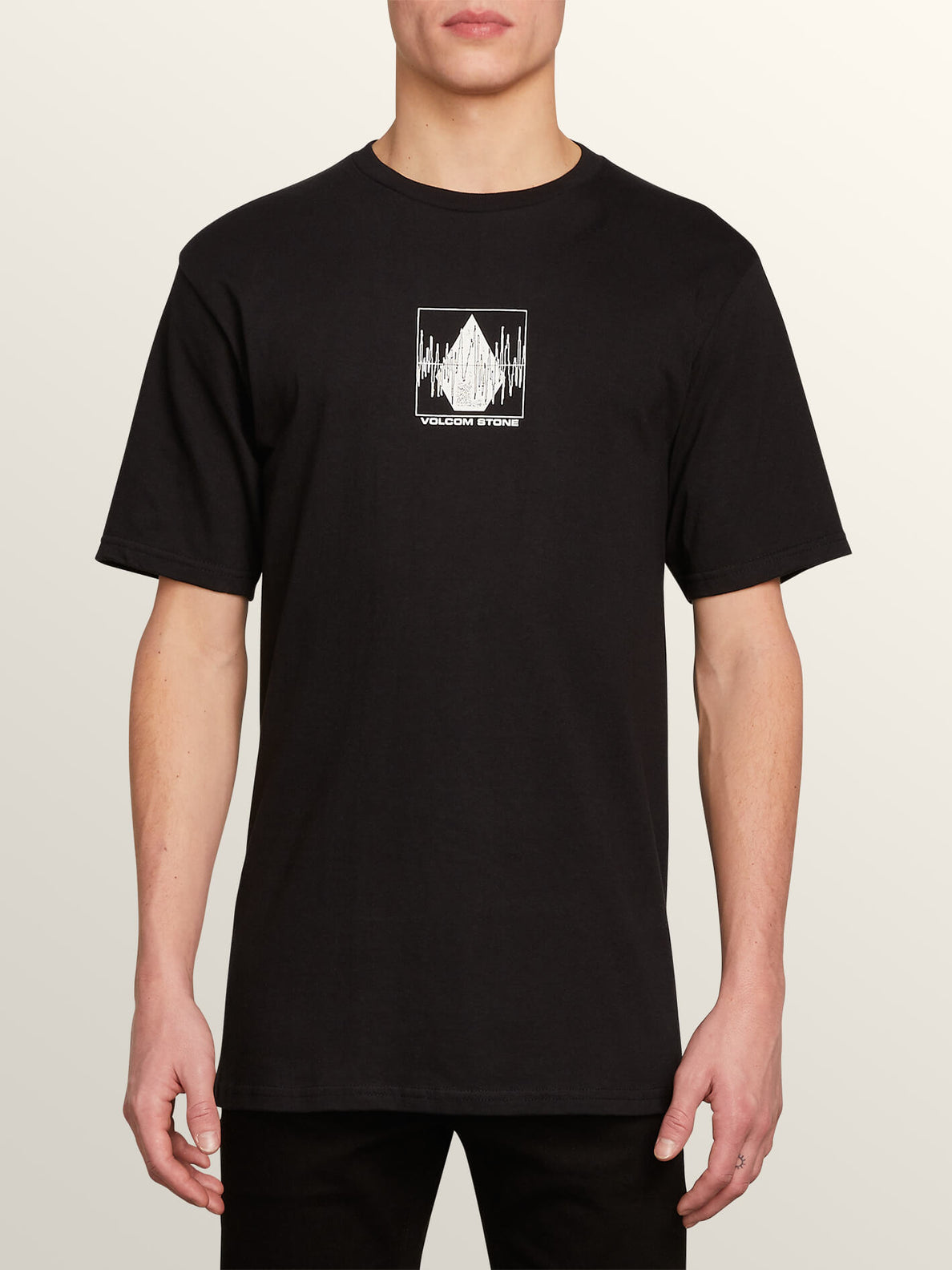 Stone Rate Short Sleeve Tee In Black, Front View