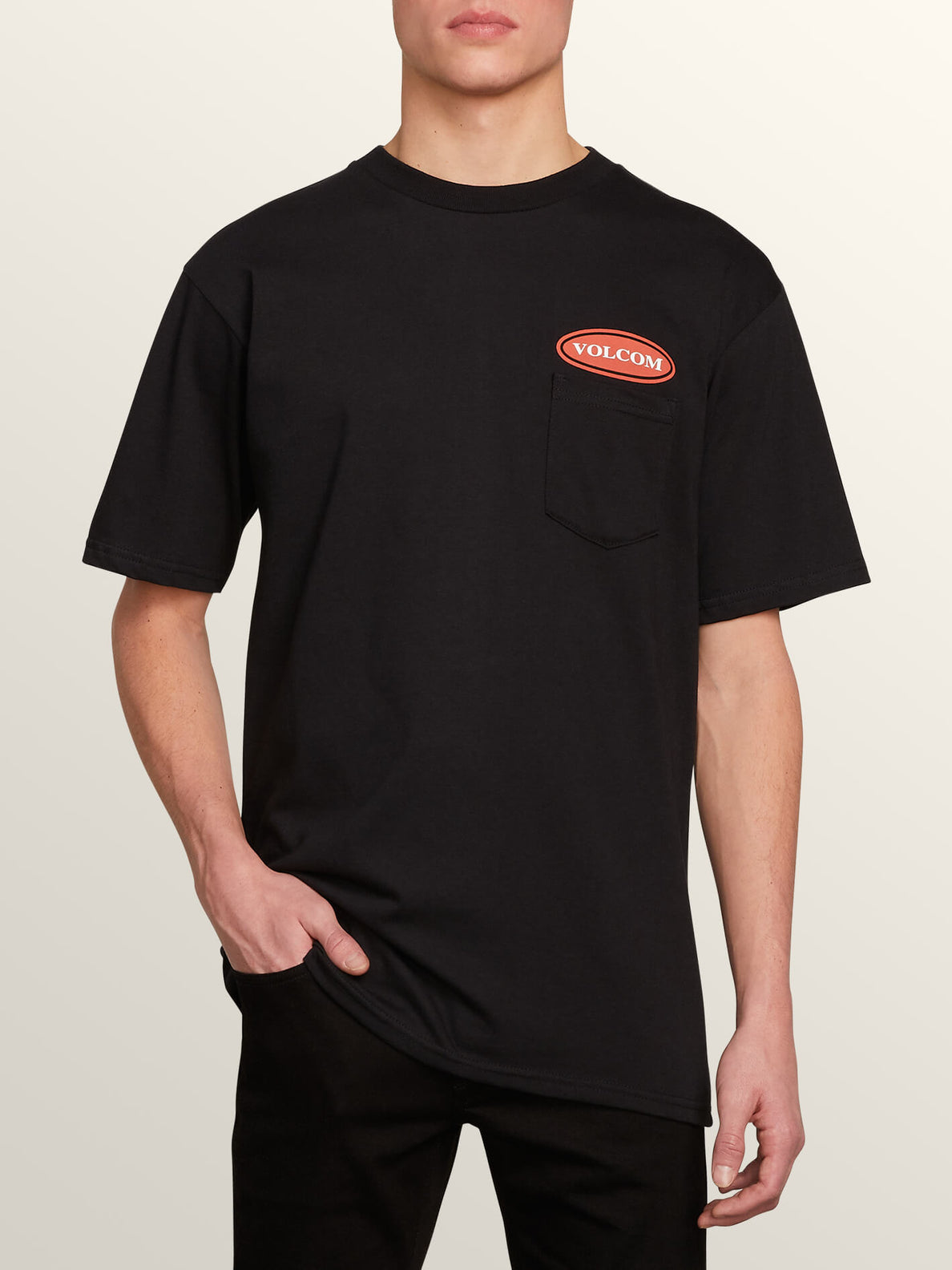 Stonecore 94 Short Sleeve Pocket Tee In Black, Front View