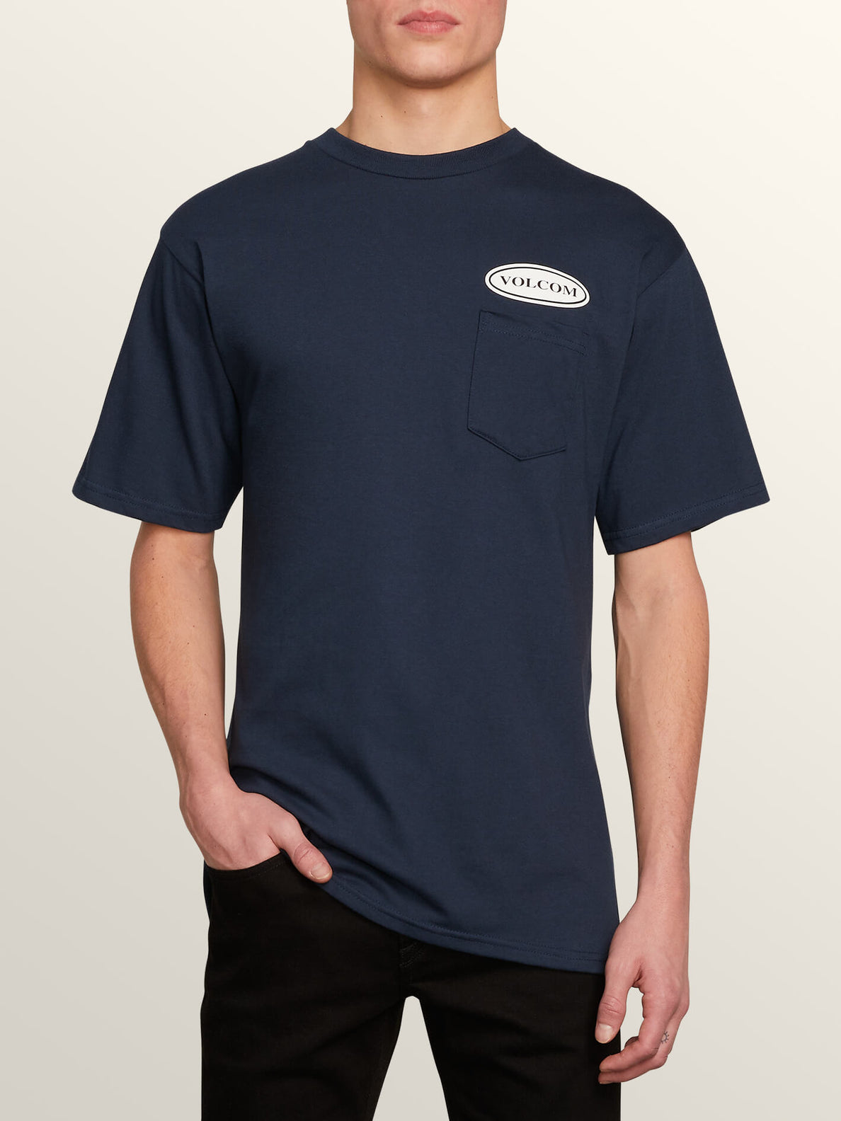 Stonecore 94 Short Sleeve Pocket Tee In Navy, Front View