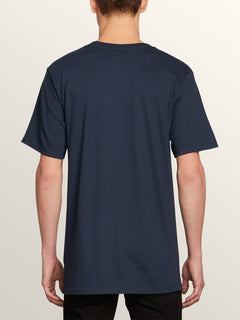 Bad Bird Short Sleeve Tee In Navy, Back View