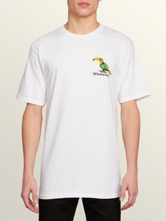 Bad Bird Short Sleeve Tee In White, Front View