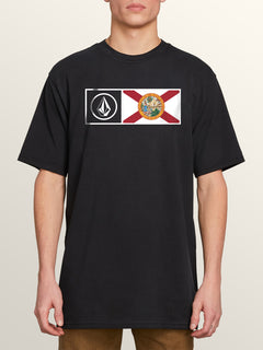 Florida Flag Short Sleeve Tee In Black, Front View