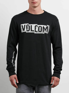 Edge Long Sleeve Tee In Black, Front View