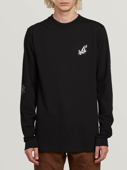 Lopez Web Long Sleeve Tee In Black, Front View
