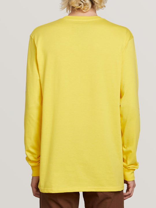 Lopez Web Long Sleeve Tee In True Yellow, Back View