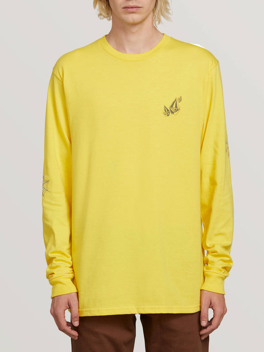 Lopez Web Long Sleeve Tee In True Yellow, Front View