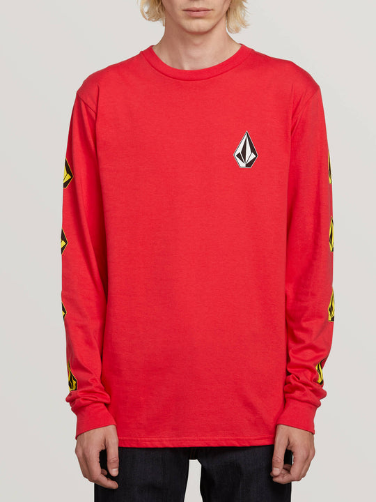Deadly Stones Long Sleeve Tee In Red, Front View