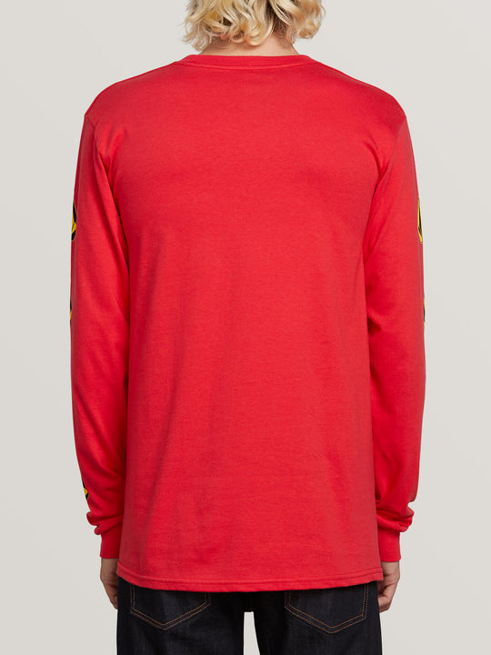 Deadly Stones Long Sleeve Tee In Red, Back View