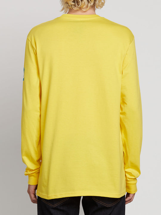 Deadly Stones Long Sleeve Tee In True Yellow, Back View