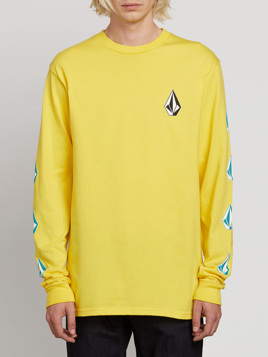 Deadly Stones Long Sleeve Tee In True Yellow, Front View