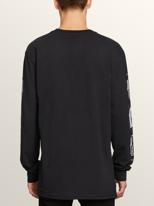 Oversight Long Sleeve Tee In Black, Back View