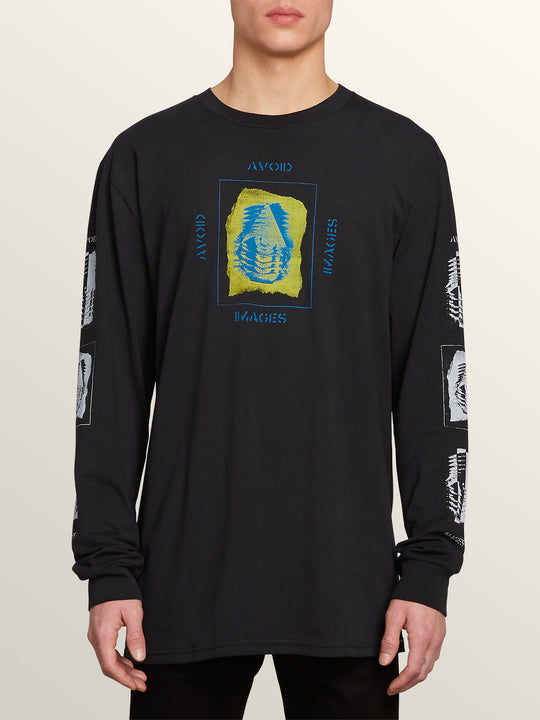 Oversight Long Sleeve Tee In Black, Front View