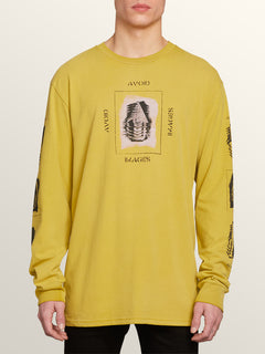 Oversight Long Sleeve Tee In Olive, Front View