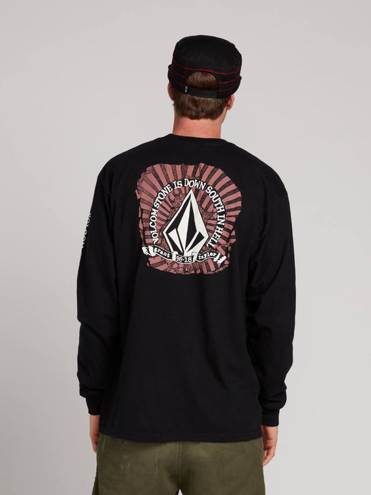 Gtxx Down South Long Sleeve Tee In Black, Back View