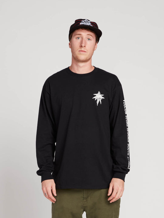 Gtxx Down South Long Sleeve Tee In Black, Front View