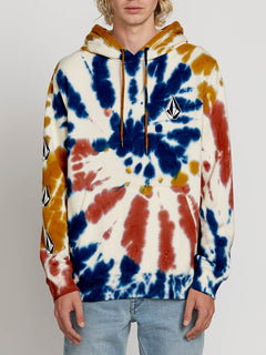 Deadly Stones Pullover Hoodie In Tie Dye, Front View