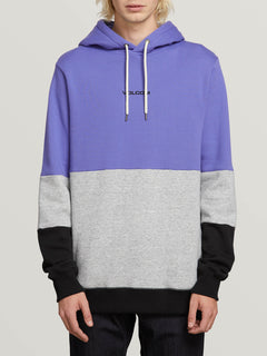 Single Stone Division Pullover Hoodie In Dark Purple, Front View