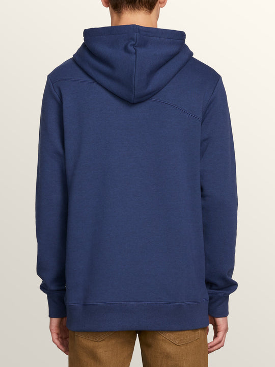Single Stone Pullover Hoodie In Matured Blue, Back View