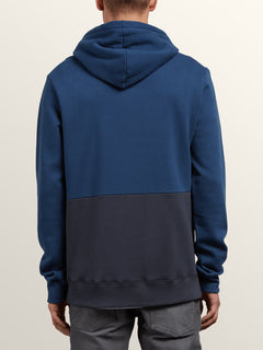 Single Stone Division Pullover Hoodie In Matured Blue, Back View