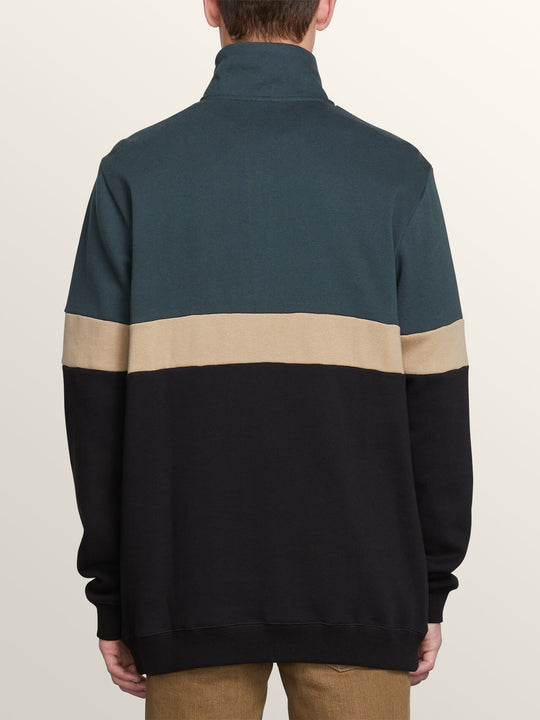 Rainer Polo Pullover Sweatshirt In Dark Pine, Back View