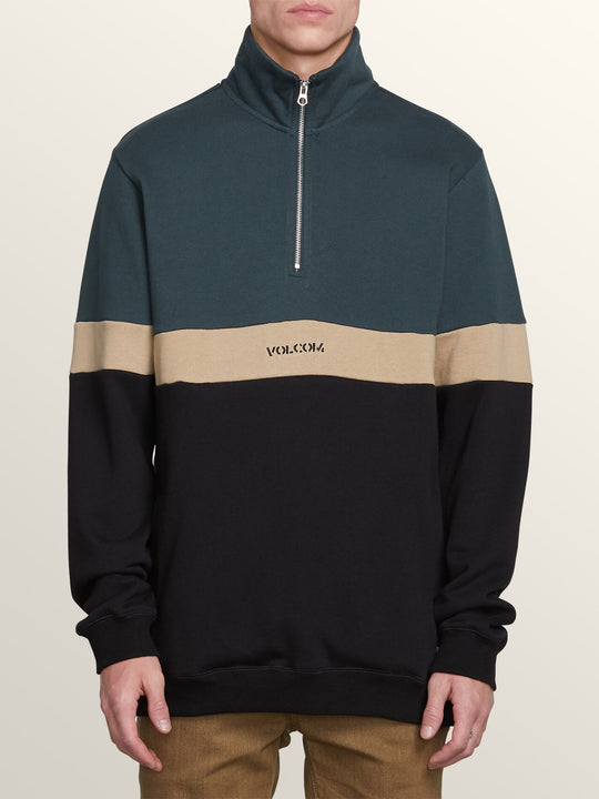 Rainer Polo Pullover Sweatshirt In Dark Pine, Front View