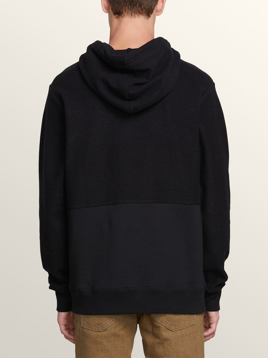 Single Stone Sub Division Pullover Hoodie In Black, Back View
